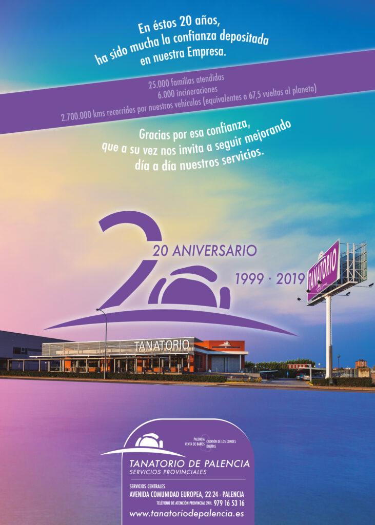 Cartel 20 aniversario Tanatorio de Palencia