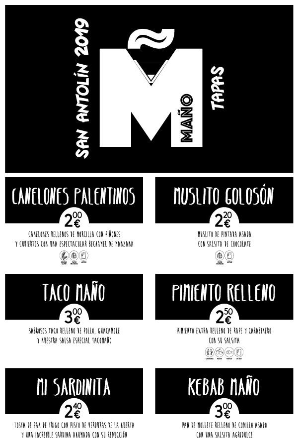 Menu y Tapas Bar Maño Palencia San Antolín 2019